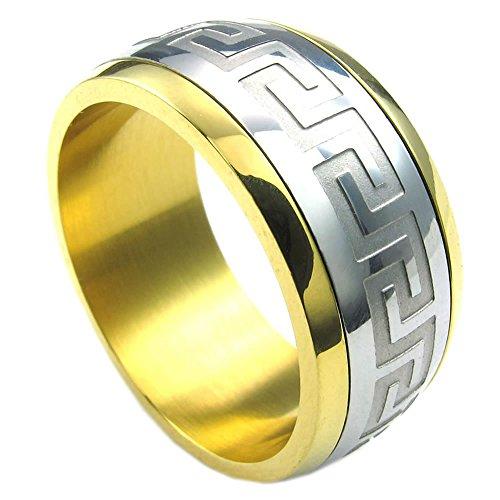 KONOV Schmuck Herren-Ring, Edelstahl, Klassiker Spiner Spinning Ringe, Gold Silber - Gr. 68