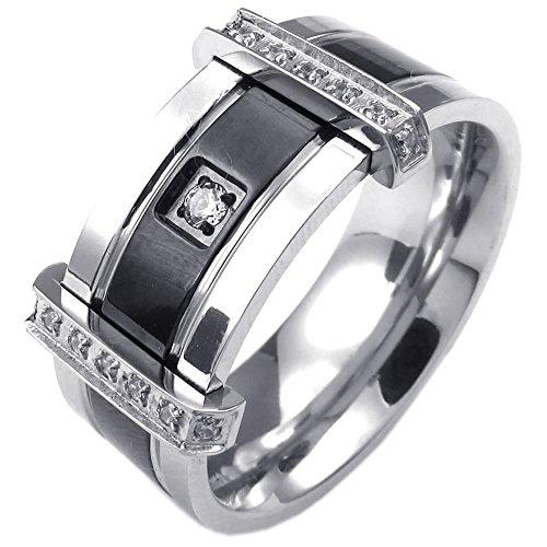 KONOV Schmuck Herren-Ring, Zirkonia Diamant Edelstahl, Charm Elegante Eheringe Verlobungsringe, Schwarz Silber - Gr. 59
