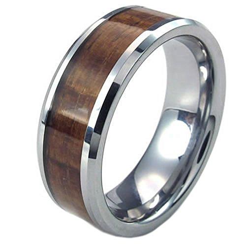 KONOV Schmuck Wolfram Wolframcarbid Herren-Ring, 8mm Holz Bandring Eheringe Verlobungsringe, Braun Silber - Gr. 62