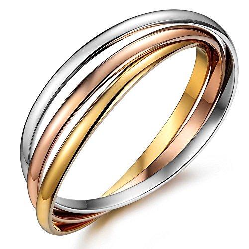 "Kim Johanson Edelstahl Damen Armreif ""Tricolor"" mit 3 geschlossenen Ringen Roségold / Gold / Silber Armband inkl. Schmuckbeutel"