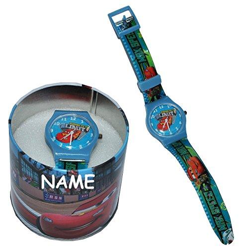 "Kinderuhr - "" Disney Auto Cars "" + Aufbewahrungsdose / Uhrenbox incl. Namen - Armbanduhr / Uhr Kinder - Quarz Analog Lernuhr - Quarzuhr / Box Dose - Kinder-Armbanduhr Jungen Lightning Mc Queen / Mcqueen Fahrzeug"