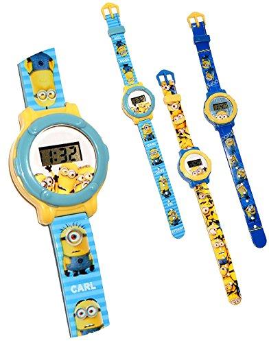 """Kinderuhr - """" Minions - Ich einfach unverbesserlich """" - Quarz / Digitalarmbanduhr - hochwertige Uhr / Kinderarmbanduhr - Kinder Armbanduhr Digital - Uhren - Minion Stuart Tom Steve Mark / für Mädchen & Jungen - Lernuhr"""