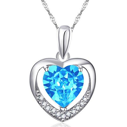 Latigerf Damen für immer Liebe Herz Anhänger Halskette mit Kette Rhodium Plated 925 Sterling Silber Kristall Blau