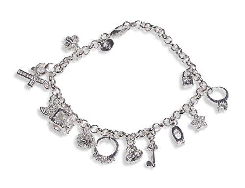 Luxus Bettelarmband Geschenk Damen Schmuck Anhänger 925 Silber Pl. Ø 60mm