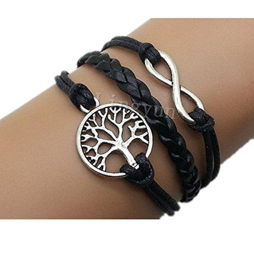 MULBA Unendlich & Tree of Life Armband Silber Charmebolzen Armband Schwarz Wax Cord Schwarz geflochtenes Leder Manschette Armband 2549r