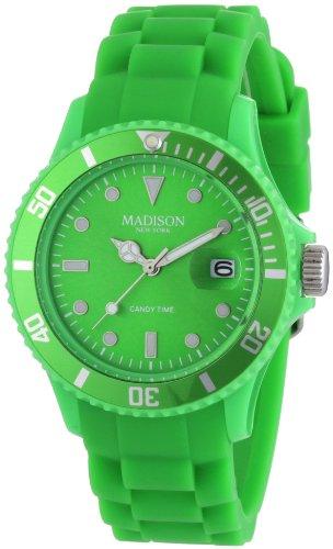 Madison New York Unisex-Armbanduhr Candy Time Analog Silikon grün U4167-10/2