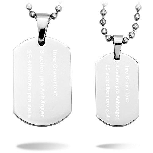 MeMeDIY 2 Stückes Silber Edelstahl Anhänger Halskette Dog Tag Partner mit 50cm & 58cm Kette - Kundenspezifische Gravur