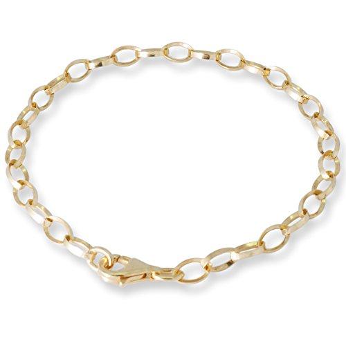 Melina Damen-Charmsarmband Oval 925 Sterling silber vergoldet Gelbgold 1900112