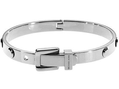 Michael Kors Astor Silver Tone Buckle Bangle Bracelet