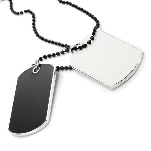 Militär Stil 2pcs Hundemarke Anhänger Herren Halskette Kette (Silber, Schwarz, Weiß)