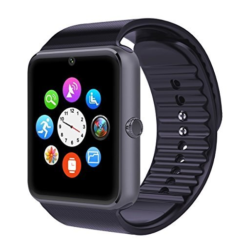 Mobiper® facebook whatsapp Bluetooth SmartWatch Handy-Uhr für Smartphone Samsung iphone HTC Android Phone with Kamera SIM in Schwarz(Schiff aus England)