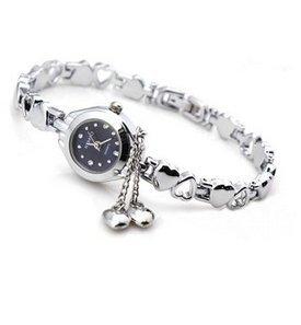 Mode Frauen Quarz Herz Charme Verbindungs Ketten Armband Armbanduhr