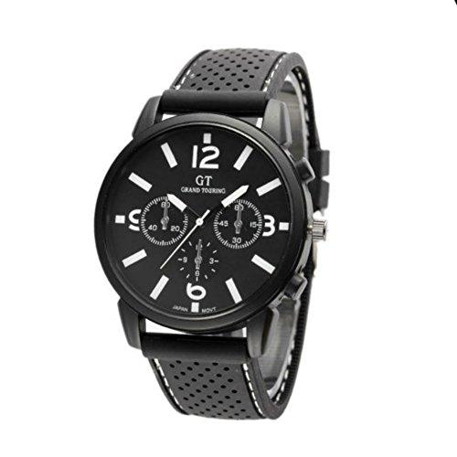 Mode Herren-Uhren Quarz Analog Edelstahl-Sport-Armbanduhr New (White)