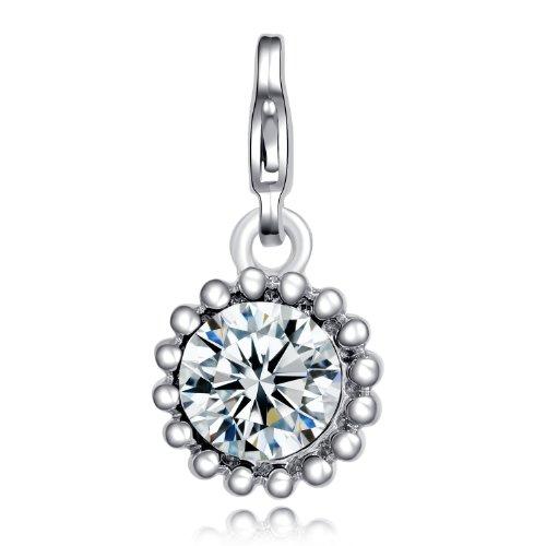 Morella Damen Charms Anhänger Glücks Amulett aus einem weißen Zirkoniastein
