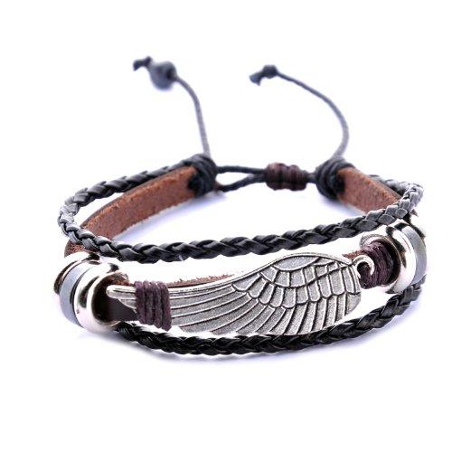 morella damen geflochtenes armband aus leder mit fl gel. Black Bedroom Furniture Sets. Home Design Ideas