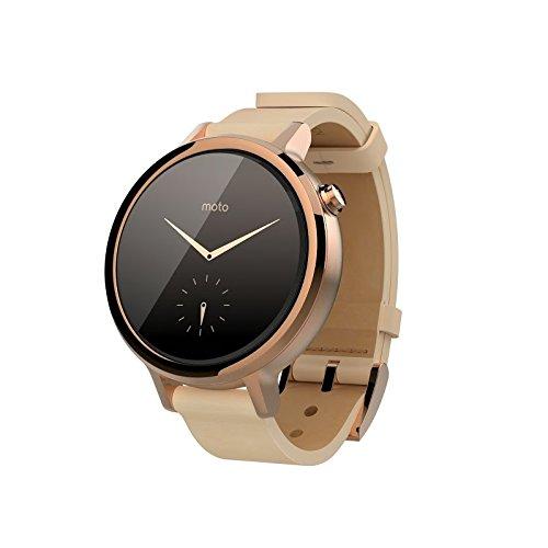 Motorola 360F42GOLDV2 Moto 360 Leder Damen-Smartwatch rosa/gold