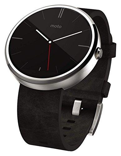 Motorola Moto 360Smartwatch, kompatibel mit Smartphone, Dunkles chrom