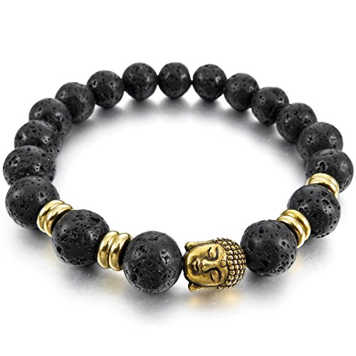 MunkiMix 10mm Breite Metalllegierung Legierung Armband EnergieStein Lava Buddha Gebet Mala Kugel Perle Perlen Herren,Damen