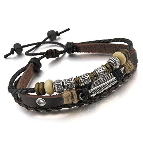 MunkiMix Metalllegierung Legierung Echtleder Armband Seil Braun Silber Herren,Damen