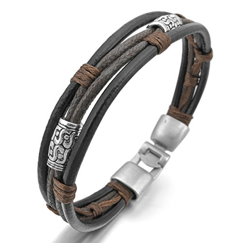 MunkiMix Metalllegierung Legierung Leder Echtleder Armband Armreifen Seil Schwarz Silber Braun Geflochten Herren,Damen