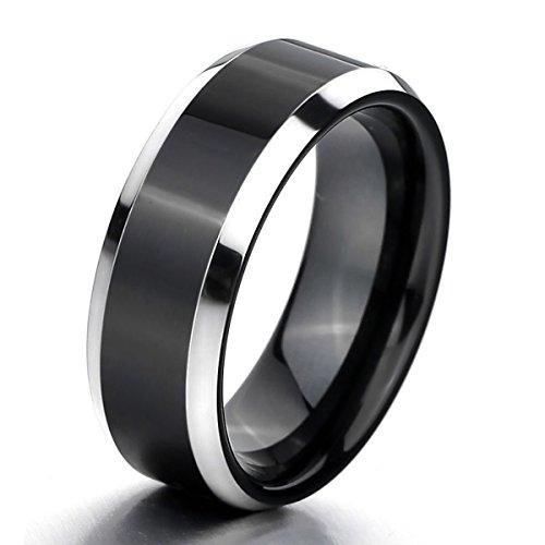 MunkiMix Wolframcarbid Wolfram Ring Band Silber Schwarz Bequeme Passform Hochzeit Wedding Eheringe Polished Elegant Größe 54 (17.2) Herren
