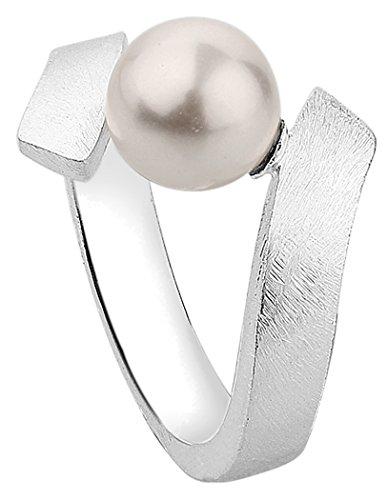 Nenalina Damen Perlen Ring mit Swarovski Perle und gebürsteter Oberfläche, handgearbeitet aus 925 Sterling Silber, 721082-300 Gr.58