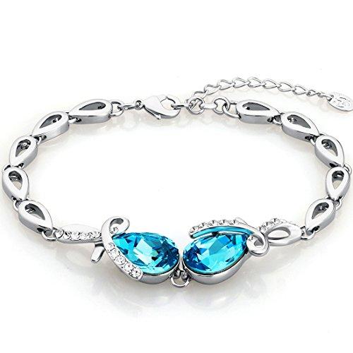 Neoglory Jewellery Silber Armkette Tropfen mit Swarovski Elements Damen blau