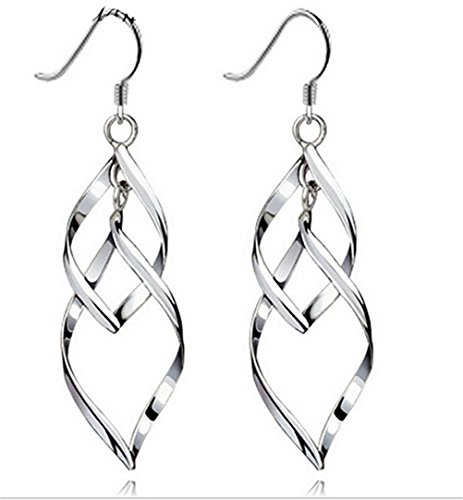 Omos Damen Doppel Leaves 925 Sterling Silber Ohrhaenger Ohrring