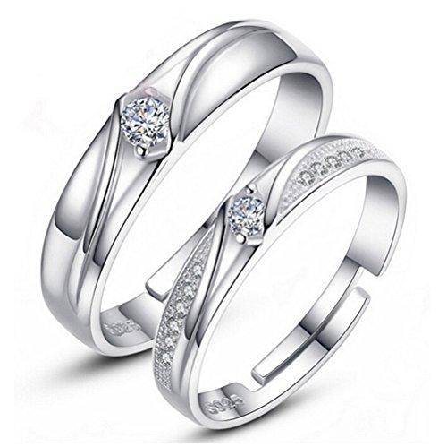 omos ringe diamant band 1 paar 925er sterling silber oeffnung einstellbare partnerringe hochzeit. Black Bedroom Furniture Sets. Home Design Ideas