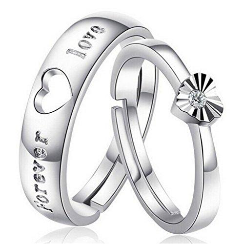 Omos Ringe Love Herz Band 1 Paar 925er Sterling Silber Oeffnung Partnerringe Hochzeit Freundschaftsringe Fingerringe Einstellbare