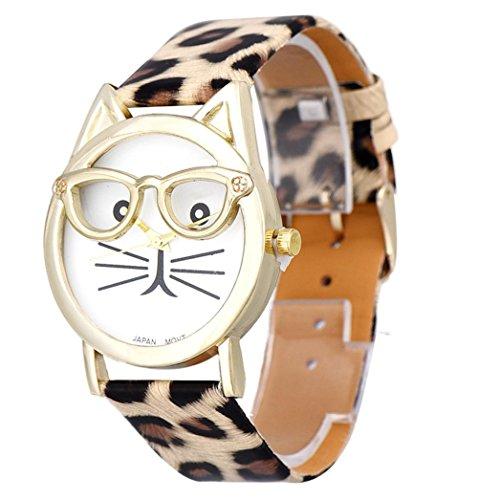 Ouneed® Uhren,Elegant Damen Uhr Katze Muster Lederband analoge Quarz Vogue Armbanduhr (khaki)