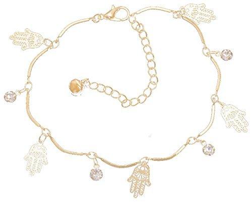 PRESKIN - Wunderschönes Charms-Armband mit Kristallen und Fatima-Hand , 18K vergoldet