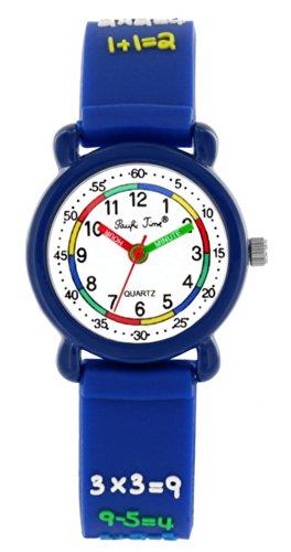 Pacific Time Kinder-Armbanduhr Rechnen 1x1 Analog Quarz blau 20554
