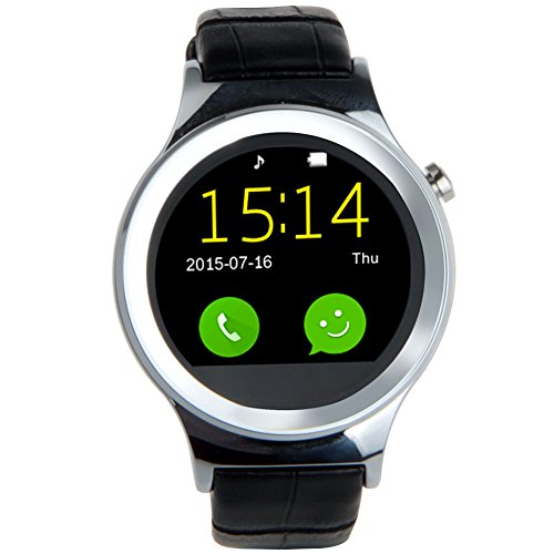 Padgene IPS Touchscreen PU Leder SmartWatch Armbanduhr Bluetooth Musik UV SIM Karte für Android iOS Samsung iPhone HTC Sony HUAWEI (Schwarz/Silver)