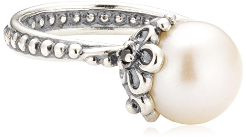 Pandora Damen-Ring 925 Silber Zirkonia transparent Süßwasser-Zuchtperle Weiß Gr. 58 (18.5) - 190848P-58