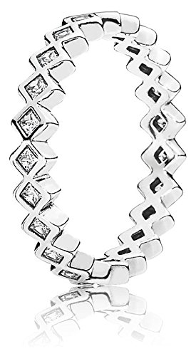 Pandora Damen-Ring Quadrate 925 Silber Zirkonia weiß Gr. 52 (16.6) - 190944CZ-52