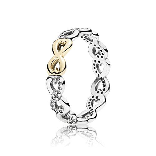 Pandora Damen-Ring Verbundene Unendlichkeit 925 Silber Zirkonia weiß Gr. 58 (18.5) - 190948CZ-58