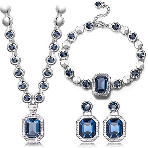 """Pauline & Morgen """"Rhine"""" Damen Schmuckset Blau SWAROVSKI ELEMENTS Kristall Armband Kette und Ohrringe Geburtstagsgeschenk Weihnachtsgeschenke Muttertag Valentinstag geschenke für frauen zum geburtstag"""