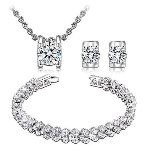 """Pauline & Morgen """"Schnee Liebe"""" Damen Schmuckset Armband Halskette und Ohrringe Kristall Schmuck Geburtstagsgeschenk Weihnachtsgeschenke Muttertag Valentinstag geschenke für frauen zum geburtstag"""