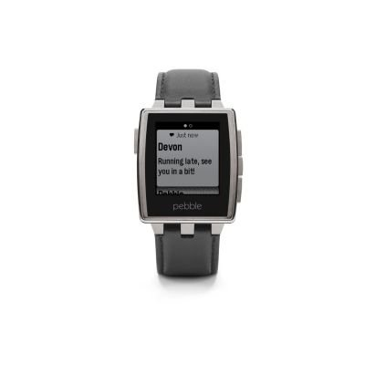 Pebble 401BLR Brushed Edelstahl Smart Watch (3,2 cm (1,26 Zoll) E-paper Display inkl. LED Backlight)
