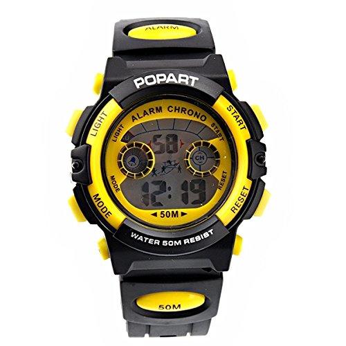 Pixnor 50M wasserdicht multifunktionale Kinder Sport-Armbanduhr mit Wecker Kalender (gelb)