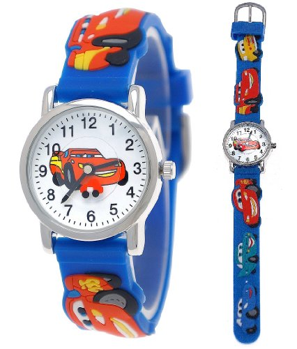 Pure Time Kinderuhr,Jungen/Mädchen Silikon/Kunststoff Armband Uhr mit Auto/Rennwagen/Car Motiv in Blau/Gelb/Rot/Weiß/Silber C201