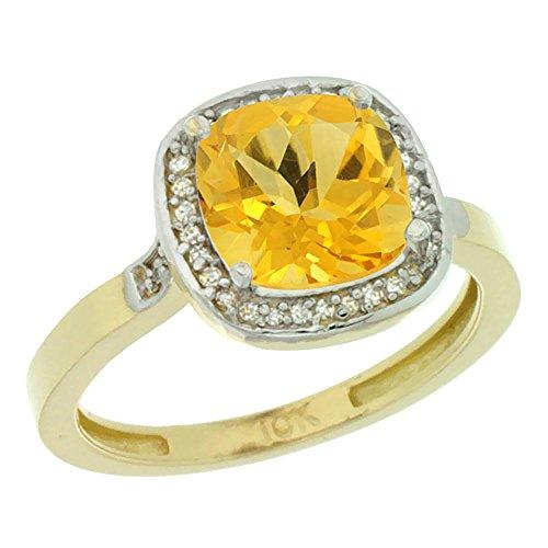 Revoni 14 Karat Gelbgold Kissenschliff Ring Citrin 8x8mm mit Diamanten CY409151