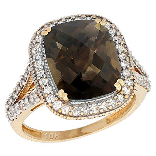 Revoni 14 Karat Gelbgold Kissenschliff Ring Topas 12x10mm mit Diamanten CY407148