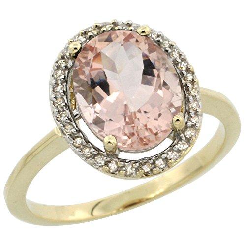 Revoni 14 Karat Gelbgold Ovalschliff Ring Morganit 10x8mm mit Diamanten CY413103