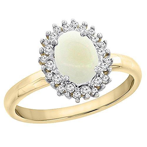 Revoni 14 Karat Gelbgold Ovalschliff Ring Opal 7x5mm mit Diamanten CY420258