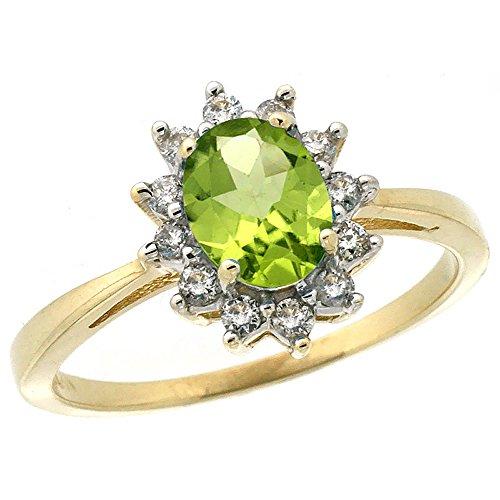 Revoni 14 Karat Gelbgold Ovalschliff Ring Peridot 7x5mm mit Diamanten CY411130