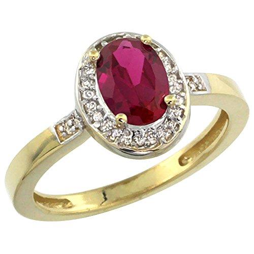 Revoni 14 Karat Gelbgold Ovalschliff Ring Rubin 7x5mm mit Diamanten CY414150