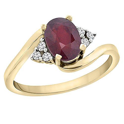 Revoni 14 Karat Gelbgold Ovalschliff Ring Rubin 7x5mm mit Diamanten CY451252