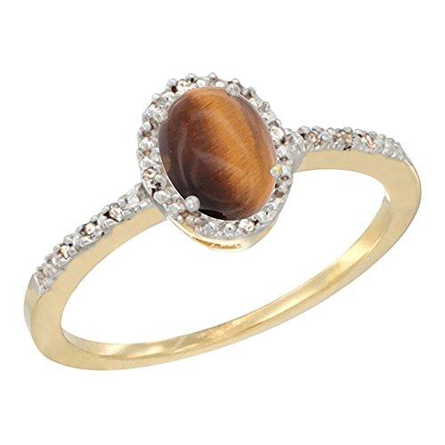 Revoni 14 Karat Gelbgold Ovalschliff Ring Tigerauge 7x5mm mit Diamanten CY424232